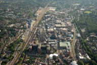 Aerial photograph of Woking town centre from the north-east