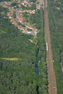 Aerial photograph of Brookwood, River Wey and railway