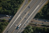 Aerial photograph of M3 junction 4 and railway