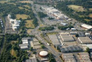 Aerial photograph of Business park and Meadows supermarkets near Camberley