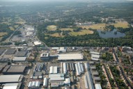 Aerial photograph of Business park and the Meadows supermarkets near Camberley