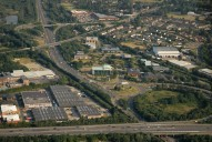 Aerial photograph of M3 and Frimley outskirts