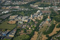 Aerial photograph of Guildford Cathedral and Surrey University