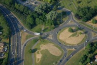 Aerial photograph of Roundabout near Guildford Cathedral
