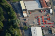 Aerial photograph of Royal Mail vans in Guildford