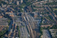 Aerial photograph of Guildford railway station