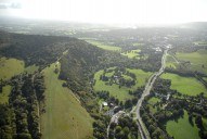Aerial photograph of Box Hill and A24 south to Dorking
