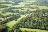 Aerial photograph of Polesden Lacey country house near Bookham