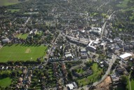 Aerial photograph of Leatherhead centre