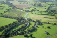 Aerial photograph of River Wey and Newark Priory near Ripley