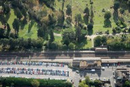 Aerial photograph of Brookwood train station and cemetery