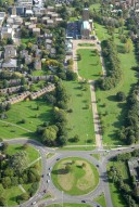 Aerial photograph of Guildford Cathedral and approach road
