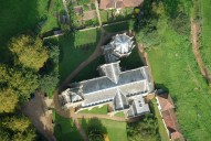 Aerial photograph of Saxon church in Albury