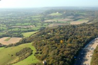 Aerial photograph of M25 and North Downs north of Redhill
