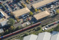 Aerial photograph of Train approaching Leatherhead