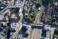 Aerial photograph of River Wey and railway, Guildford