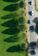 Aerial photograph of Tractor and cars near Cranleigh