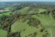 Aerial photograph of North Downs north of Reigate