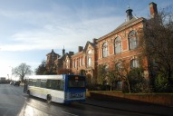 Town hall and bus, Reigate