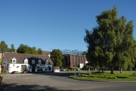 The Red Lion pub and Donyngs sports centre, Redhill