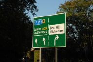 Road sign for Box Hill, Dorking