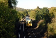 Train approaching Box HIll and Westhumble railway station, Dorking