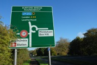 Burford Bridge Roundabout sign, Dorking